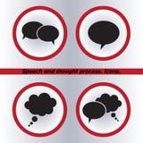 Spracheblasenikonen schwarze Ikone, Vektor Stockbilder