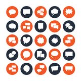 Spracheblasensprache flache Glyphikonen Chat, Kommentar, Ideenillustrationen Zeichen für Kommunikationskonzept fest Vektor Abbildung