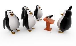 Sprachekonzept des Pinguins 3d Stockfoto
