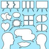 Spracheluftblase eingestellt mit männlichem und weiblichem Kopf Lizenzfreie Stockfotos