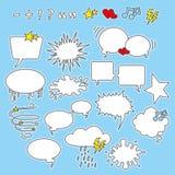 Spracheluftblasen, -formen und -ikonen Stockfoto