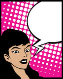 Spracheluftblasen-Knallkunstfrau Stockfoto