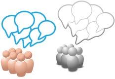 Spracheluftblasensymbolleute sprechen Sozialmedia Stockbilder