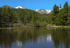 Sprague lake. Scenic view of Sprague lake with forest and snow capped mountains in background, Rocky Mountains National Park; Estes Park, Colorado; U.S.A Royalty Free Stock Photo