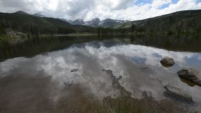 Sprague Lake Colorado Rocky Mountain National Park. Dramatic sky over trees and Continental Divide in Rockies Colorado stock footage