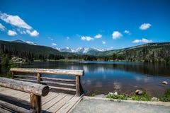 Trail around Sprague lake on Rocky Mountains
