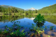Sprague lake and reflections of rocky mountains in Colorado, USA