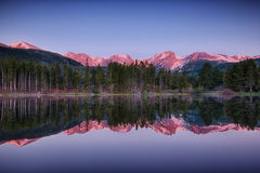 Sprague lake, Rocky Mountain National Park. Sunrise at Sprague lake, Rocky Mountain National Park, Colorado, USA stock photo