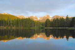 Sprague Lake, Rocky Mountains. Early morning reflections on Sprague Lake, captured in Rocky Mountain National Park, Colorado Stock Image