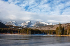 Sprague Lake in Rocky Mountains in Winter