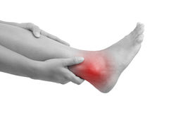 Sprained ankle. royalty free stock photography