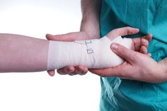 Sprained hand Royalty Free Stock Photo