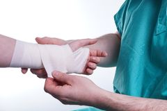 Sprained hand Stock Photo
