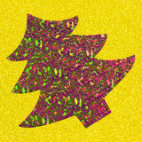 Sparkling Christmas tree. Colorful Christmas tree in sparkles on yellow background Royalty Free Stock Images