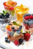 Sprankelende dranken met verticale bessen en vruchten, Stock Afbeelding