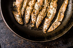 Sprat, capelin fried in a pan Royalty Free Stock Images