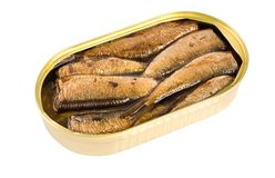 Sprat fish canned isolated Royalty Free Stock Photos
