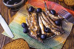 Sprat and olives Royalty Free Stock Photography