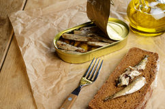 Sprat sandwich Stock Photos
