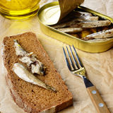 Sprat sandwich Stock Photography