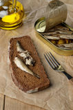 Sprat sandwich Royalty Free Stock Photography