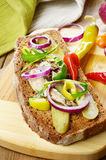 Sprat sandwich with pickled vegetables Stock Photos