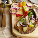 Sprat sandwich with pickled vegetables Stock Images