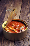 Sprat in tomato sauce Stock Photography