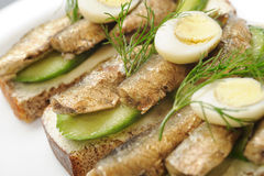 Sprats on bread Royalty Free Stock Photo