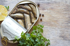 Sprats with oil in tin can Stock Image