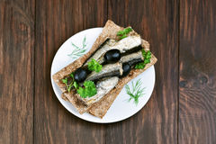 Sprats sandwich, top view Stock Photography