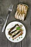 Sprats sandwich, top view Stock Photo