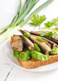 Sprats sandwich Stock Photo