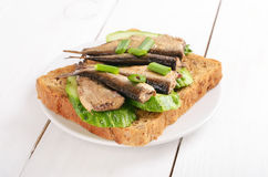 Sprats sandwich Stock Images