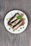Sprats sandwiches, top view Stock Photos