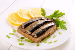 Sprats sandwiches Stock Image