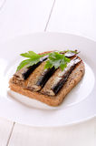 Sprats sandwiches Royalty Free Stock Photography