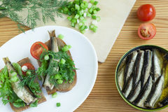 Sprats a table Royalty Free Stock Images