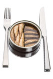Sprats in a tin can  and Dishware Royalty Free Stock Photos