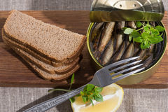 Sprats in a tin and coarse rye bread Stock Image