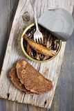 Sprats in a tin and fork. Stock Photos