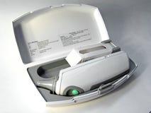 sprawa cyfrowy termometr fotografia stock