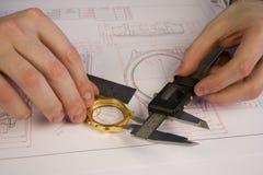 sprawa projektów zegarek Zdjęcie Royalty Free