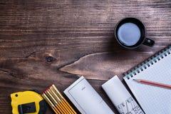 Sprawdzać copybook projektów taśmy ołówkowa linia Obrazy Royalty Free