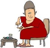 sprawdzać glikozę jej równa kobieta ilustracja wektor