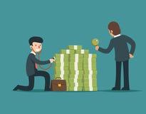 Sprawdza pieniężnych zdrowie Biznesmena czeka pieniądze zdrowie z stetoskopem i powiększać - szkło Zdjęcia Stock