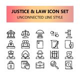 Sprawiedliwość, prawo i legalny piksel doskonalić ikony ustawiający w Niepowiązany ze sobą konturze, royalty ilustracja