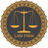 Sprawiedliwości szalkowa ikona z podpis firmą prawniczą ilustracja wektor