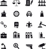 Sprawiedliwości i egzekwowanie prawa ikony set Fotografia Stock