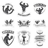 Sprawność fizyczna emblematy, loga projekt Zdjęcia Stock